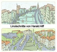 Bildinhalt: Linolschnitte Harald Alff: ein Geschenk an Leipzig