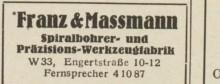 Bildinhalt: Eintrag der Spiralbohrer- und Präzisions-Werkzeugfabrik Franz & Maßmann im Leipziger Adreßbuch mit Markkleeberg, Böhlitz-Ehrenberg, Engelsdorf, Mölkau von 1949