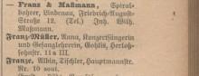Bildinhalt: Fa. Franz & Maßmann, Spiralbohrer, in Leipzig-Lindenau, Friedrich-August-Straße 12. Quelle: Leipziger Adreßbuch 1909