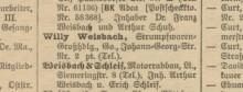 Bildinhalt: Leipziger Adreßbuch 1925: Motorradbau Weisbach & Schleif, Lindenau, Siemeringstraße 8, Inhaber: Arthur Weisbach und Erich Schleif