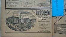 Bildinhalt: Anzeige im Leipziger Adreßbuch 1904: Ledertreibriemenfabrik Emil Geissler, Leipzig-Lindenau
