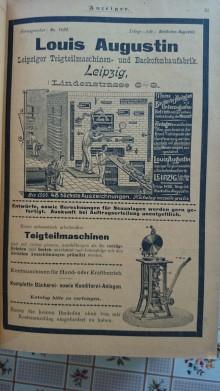 Bildinhalt: Anzeige im Leipziger Adreßbuch 1904: Fa. Louis Augustin, Leipziger Teigteilmaschinen und Backofenbaufabrik, Lindenstraße 6-8
