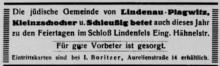 Bildinhalt: Die jüdische Gemeinde von Lindenau-Plagwitz, Kleinzschocher und Schleußig betete auch im September 1933 zu den Feiertagen im Schloss Lindenfels (Eingang Hähnelstraße). Für gute Vorbeter war gesorgt. Eintrittskarten waren beim Kaufmann Isaak Boritzer in der Aurelienstraße 14 erhältlich. Quelle: Gemeindeblatt vom 8. September 1933