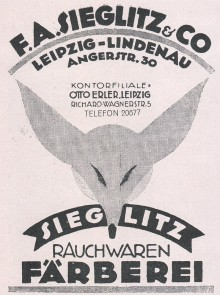 Bildinhalt: F. A. Sieglitz & Co., Leipzig-Lindenau, Angerstraße 30, Rauchwaren-Färberei