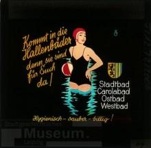 Bildinhalt: Kinowerbung von Kunstmaler Kurt Opitz für das Westbad. Quelle: SGML, GOS-Nr. z0045009