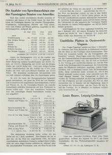 Bildinhalt: Anzeige der Fa. Louis Bauer, Leipzig-Lindenau, in: Phonographische Zeitschrift, Band 14. 1913. Quelle: MDZ, BSB (CC BY-NC-SA 4.0)