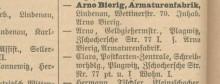Bildinhalt: Eintrag der Armaturenfabrik Arno Bierig, Lindenau, Wettinerstraße 70, im Leipziger Adreßbuch 1906
