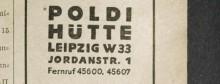 Bildinhalt: Eintrag der Poldihütte Leipzig W 33 Jordanstraße 1 im Adreßbuch der Reichsmessestadt Leipzig mit Markkleeberg, Böhlitz-Ehrenberg, Engelsdorf, Mölkau 1943