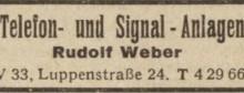 Bildinhalt: Fa. Telefon- und Signal-Anlagen Rudolf Weber, Leipzig W 33, Luppenstraße 24; Anzeige im     Leipziger Adreßbuch mit Markkleeberg, Böhlitz-Ehrenberg, Engelsdorf, Mölkau von 1949