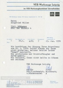 Bildinhalt: ein Brief des VEB Werkzeuge Leipzig, Luppenstraße 1b, 7033 Leipzig: