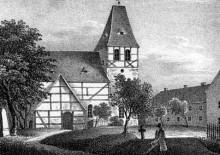 Bildinhalt: Dorfkirche Lindenau um 1850. Quelle: Sachsens Kirchen-Galerie, Verlag Hermann Schmidt, Dresden