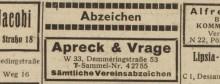 Bildinhalt: Eintrag der Fa. Apreck & Vrage im Leipziger Adreßbuch 1949