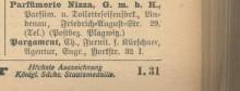 Bildinhalt: Parfümerie Nizza G. m. b. H., Parfümerie und Toiletteseifenfabrik, Lindenau, Friedrich-August-Straße 29 (Telephon) (Postbezirk Plagwitz). Eintrag im     Leipziger Adreß-Buch 1906