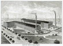 Bildinhalt: Ansicht der Maschinenfabrik Gebrüder Brehmer in Leipzig-Lindenau, vor 1903. In: Preis-Liste der Maschinen-Fabrik Gebrüder Brehmer. Luhn, Barmen 1903. wikimedia.org. CC BY-SA 4.0