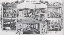Bildinhalt: Postkarte von 1893 der Fa. Theodor Thorer: Fabrikgebäude Thorer in der Angerstraße