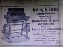 Bildinhalt: Fa. Wehling & Bansen. Anzeige in der Kürschner-Zeitung Nr. 25 vomn 8.12.1912. Verlag von Alexander Duncker, Leipzig, S.1644. Bildquelle: wikimedia