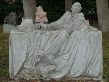 Bildinhalt: einstmals von Worpswede nach Leipzig-Lindenau: eine Plastik von Bildhauer Christoph Fischer, Worpswede