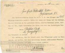 Bildinhalt: Mitteilung des Rates der Stadt Leipzig, Fürsorgeamt, an Ernst Florstedt zur Übernahme des Amtes als Pfleger des Fürsorgedistriktes 63D. © Stadtgeschichtliches Museum Leipzig, CC BY-NC-SA 3.0 DE, GOS-Nr. a0004091