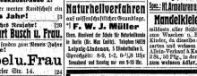 Bildinhalt: Anzeige in der LVZ vom 3. Januar 1910: F. W. J. Müller, Absolvent der Schule für Naturheilkunde in Berlin unter dem Direktor Max Canitz, bietet in Leipzig-Lindenau, Elisabethallee 5, Naturheilverfahren auf wissenschaftlicher Grundlage an.