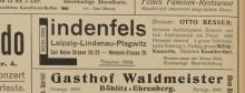 Bildinhalt: Lindenfels-Anzeige im Leipziger Adreß-Buch 1905