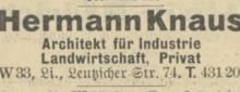 Bildinhalt: Hermann Knaus, Architekt für Industrie, Landwirtschaft, Privat, Leipzig W 33, Lindenau, Leutzscher Straße 74. Quelle: Adreßbuch 1927