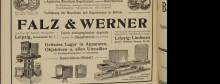 Bildinhalt: Anzeige der Fa. Falz und Werner. Leipziger Adressbuch 1905
