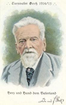 Bildinhalt: Postkarte Ferdinand Goetz, Turnvater, und sein Wahlspruch