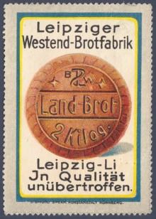 Bildinhalt: Werbemarke der Leipziger Westend-Brotfabrik Paul Schmidt Leipzig-Lindenau. Quelle: Sammlung Lindenauer Stadtteilverein e.V.