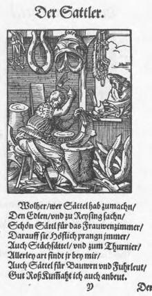 Bildinhalt: Der Sattler. Holzschnitt von Jost Amman im Ständebuch von 1568