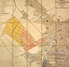 Bildinhalt: Bauplätze der Leipziger Westend-Baugesellschaft, um 1910, Stadtplan der Leipziger Westend-Baugesellschaft; Stadtgeschichtliches Museum Leipzig, Inv.-Nr. L 283