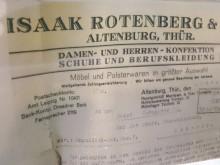 Bildinhalt: Briefbogen der Firma Isaak Rotenberg & Co., Kornmarkt 11 in Altenburg/Thür.