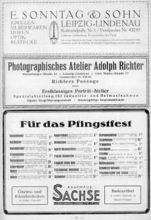 Bildinhalt: Werbung von 1928: Kaufhaus Max Sachse