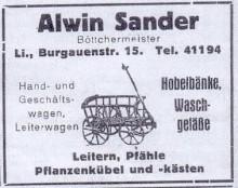 Bildinhalt: Burgauenstraße 15, Böttcherei Alwin Sander, Reklame von 1928. Quelle: Archiv Gerd Horn
