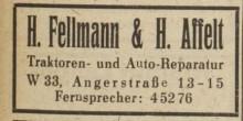 Bildinhalt: Werbung von 1948 für die Traktoren- und Auto-Reparatur  H. Fellmann & H. Affelt in der Angerstr. 13-15 in Leipzig W 33. Quelle: Archiv Gerd Horn