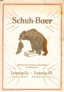 Bildinhalt: Werbung der Fa. Schuh-Baer. Quelle: Archiv Gerd Horn