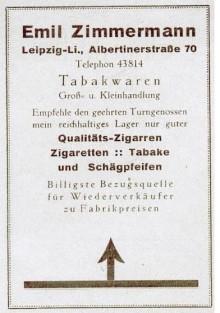 Bildinhalt: Reklame für die Zigarrenhandlung von Emil Zimmermann, Albertinerstraße 70, Leipzig-Lindenau, von 1925. Quelle: Archiv Gerd Horn