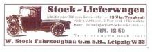 Bildinhalt: Fahrzeugbau W. Stock, Lützner Straße 186, Werbung von 1932 für Stock-Lieferwagen. Quelle: Archiv Gerd Horn