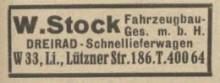 Bildinhalt: W. Stock, Fahrzeugbau, Dreirad-Schnellieferwagen, Firmenanzeige aus dem Leipziger Adressbuch 1932. Quelle: Archiv Gerd Horn