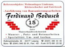 Bildinhalt: Anzeige zum 15jährigen Betriebsjubiläum 1998 von Maurermeister Ferdinand Bodusch, Roßmarktstraße 33. Quelle: Archiv Gerd Horn