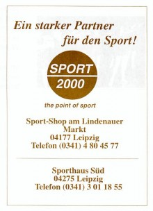Bildinhalt: Sport 2000, Sport-Shop am Lindenauer Markt, 04177 Leipzig, Reklame von 1998, Quelle: Archiv Gerd Horn