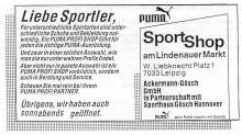 Bildinhalt: Sport-Shop am Lindenauer Markt, Wilhelm-Liebknecht-Platz 1, 7033 Leipzig, Anzeige vom Juni 1991, Quelle: Archiv Gerd Horn