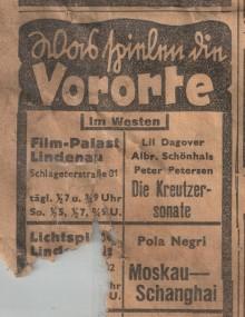 Bildinhalt: Kinowerbung aus den Leipziger Neuesten Nachrichten vom Freitag, den 7. Mai 1937: Was spielen die Vororte: Im Westen: Film-Palast Lindenau Schlageterstraße 31. Quelle: Sammlung Lindenauer Stadtteilverein e. V.