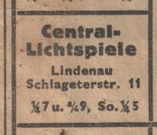 Bildinhalt: Nur wenige Häuser entfernt: Kino Central-Lichtspiele in der Schlageterstraße 11, 1937. Quelle: Sammlung Lindenauer Stadtteilverein e. V.