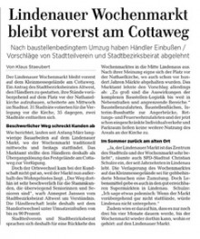 Bildinhalt: LVZ, 22. April 2021: Lindenauer Wochenmarkt bleibt vorerst am Cottaweg