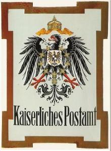 Bildinhalt: Posthausschild der deutschen Reichspost um 1900