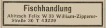 Bildinhalt: Anzeige von 1949 der Fischhandlung Felix Abitzsch in der William-Zipperer-Str. 30, Archiv Gerd Horn