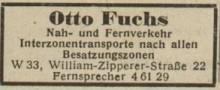 Bildinhalt: Werbung der Fa. Otto Fuchs 1949, Anzeige aus dem Archiv Gerd Horn